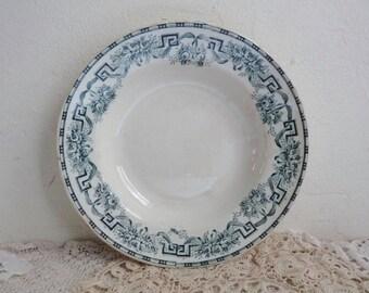 1 Antique CERAMIC PLATE, Ivory White Soup Bowl with Blue Border. Art Deco, Stamped Nord, Moulin des Loups & Hamage. Pattern: Athènes.