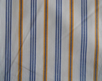 Striped Shirting, White with Blue and Gold Stripes. Cotton Blend