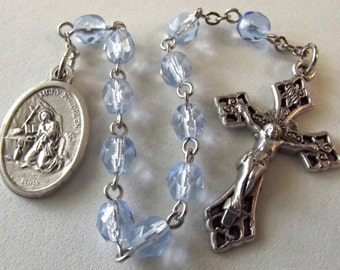 St. Mary Magdalen Blue Crystal Rosary Tenner