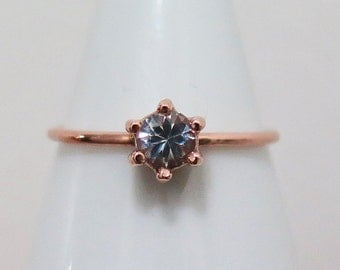 Small Round Solitaire 6 Prong Engagement Ring, White Sapphire, Wedding and Engagement, 14k Solid Rose Gold