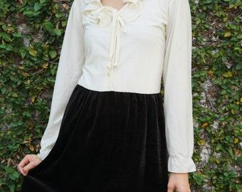 Sale!!!  Vintage 1980s Dress, Vintage Dress, Vintage 1980s Dress, Vintage Beige and Black Dress, Retro Dress, Union Made Dress