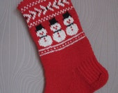 Small Hand knitted Christmas Stockings Red Grey White Yellow Green with snowman snowflakes trees deer  gnomes ornament