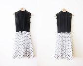1950s Dress / Illusion Neck Dress / Swetheart Bust / 50s Polka Dot Sundress / Black and White