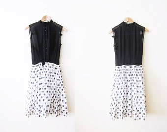 1950s Dress / Illusion Neck Dress / Swetheart Bust / 50s Polka Dot Sundress / Black and White