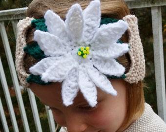 Crochet pattern - White Poinsettia Headband, Crochet Headband Pattern, Crochet Poinsettia Pattern, Crochet Flower Headband Pattern