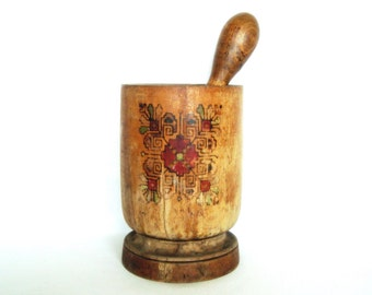 Vintage wooden Mortar and Pestle Bulgarian folk art 1950's Rustic kitchen