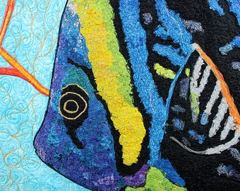 Angel Fish, Quilted Wall Hanging, Fiber Art