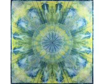 Ice  Dyed Fabric, Blue and Yellow, Quilted Wall Hanging