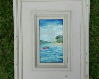 Island Oil Painting on Reclaimed Wood