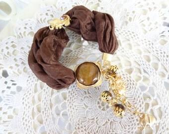 Tiger Eye Bracelet, Brown Silk Bracelet, Elephant Bracelet, Country Western Bracelet, Gold,Feminine, Handmade, OOAK, Christmas Gift