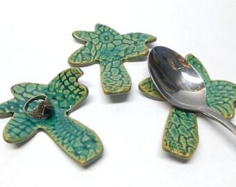 Palm Tree Ring Dish Tea Bag Holder Teabag Rest Teaspoon Rest Ceramic Ring Dish Pottery Ring Dish Palm Teabag Holder in Green