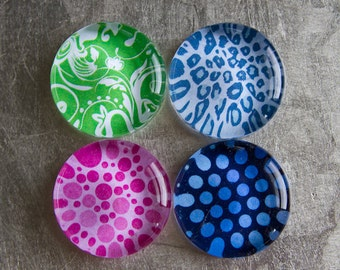 Super Strong 1.5-inch Round Glass Magnets Set of 4 (Buy three magnets get one free) with Colorful Patterns - Green Blue Pink