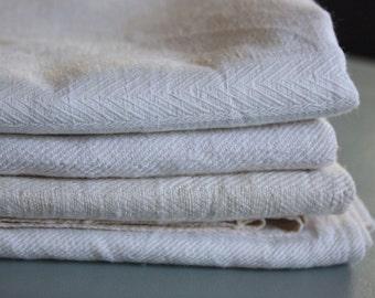 beautiful set of 4 vintage damask linen towels , pure linen damask ,  as UNUSED