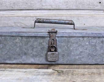 Vintage Industrial Galvanized Tool Box with Padlock