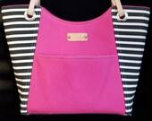 Striped Purses, Black and White stripes, Medium handbag, Handmade handbag, Black and Pink, Leather handles