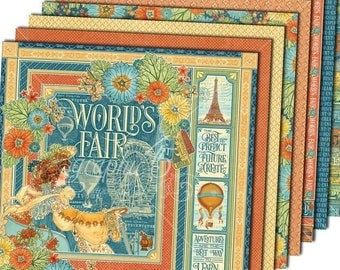 """Graphic 45 """"World's Fair"""" 12x12 Paper Set - 1 of each 8 design papers"""