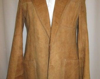 vintage, JAEGER of London goatskin suede womens riding blazer 7os fashion wear Twiggy size  US 8