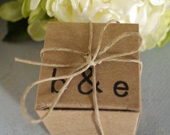 100 Wedding Favors Love Birds Tree of Life Wedding Date Monogram , Rustic Wedding Kraft favors box, Party Favors Box