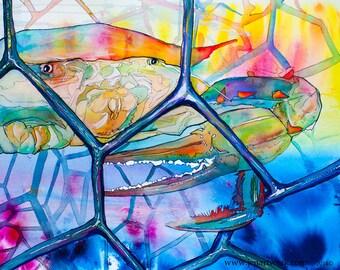 Crab Pot Close Up-Art by Jen Callahan Tile,Cuttingboard,Paper Print