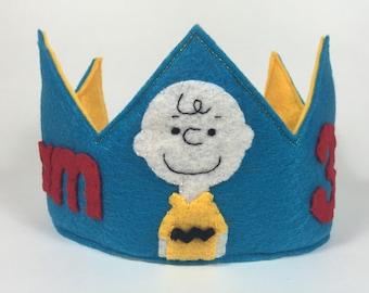 Charlie Brown Themed Felt Birthday Crown - Peanuts - Snoopy Birthday - Smash Cake