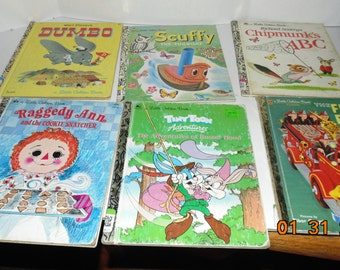 Lot 6 Vintage Little Golden books Dumbo Raggedy Ann richard Scarry scuffy tiny toon