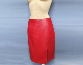 Cherry Red Hot Sexy Pencil Skirt Stylish Soft Italian Leather Long NEW