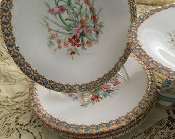 Rare Antique Grainger Worcester Dessert Set /4 Plates/One Cake Stand/Turquoise Enamelled Beading Edge/Circa 1845 /Dinner Party/Wedding Gift