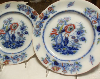 Antique Plates/2 Davenport Display Plates/Hand Painted Chinoiserie/Flow Blue/ Early 19th Century/ Cabinet Display / Collectible/Wedding Gift