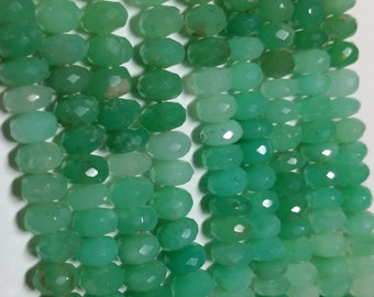 Natural Chrysophrase Faceted Rondelle Beads 7mm