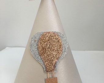 Girls birthday hat, Gold birthday hat, hot air balloon party hat