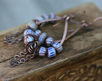 Bohemian African Chevron in Blue earrings n179 - solid copper jewelry . antique trade beads earrings . blue boho earrings . earthy jewelry