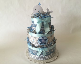 Ahoy it's a Boy - Grey and Blue Diaper Cake- 3 Tier
