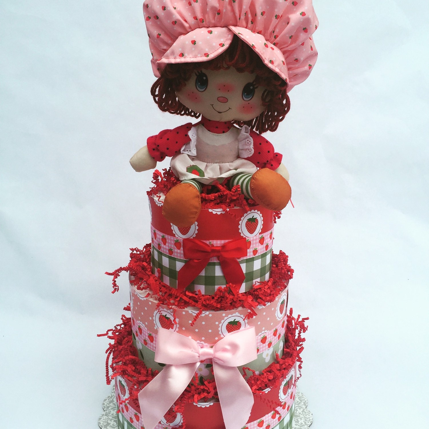 Strawberry Shortcake Pink and Red Baby Shower Diaper Cake