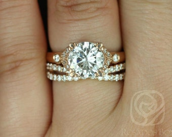 Antoinette 8.5mm & Lima 14kt Rose Gold Round F1- Moissanite and Diamonds Vintage Wedding Set (Other metals and stone options available)