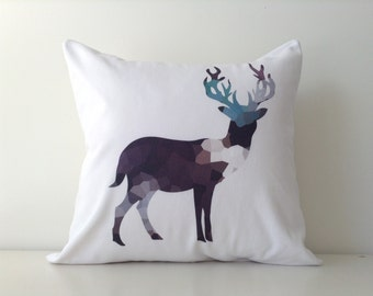 Elk Print Pillow - Original Design Print - Contemporary Decor - Geometric - Mosaic, Taupe, Teal, Grey, 16x16, Stag Deer, Guy Decor, Man Cave