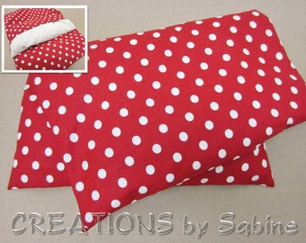 Corn Heating Pack, Corn Pillow with washable cover Microwave Therapy Pad red white polka dots cute circles / gift idea READY TO SHIP (382)
