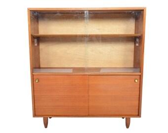 Mid Century Modern Beaver + Tapley Narrow Sliding Glass Door Bookcase #2