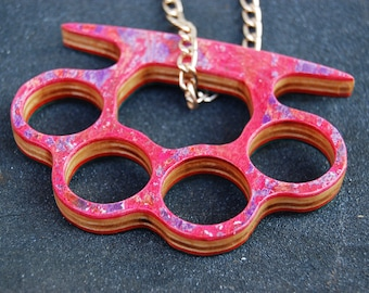 Recycled Skateboard Necklace Knuckle Duster pink natural green Christmas gift