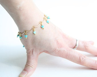 Dainty Turquoise and Gold Beaded Bracelet with Triangle Kingman Turquoise Beads