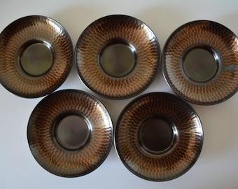 Set of 5 hand hammered  Suzu 'chataku' saucers, 1980 vintage Japanese, stamped