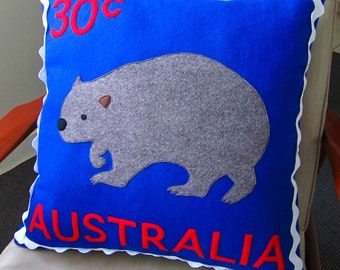 Australian wombat stamp cushion cover