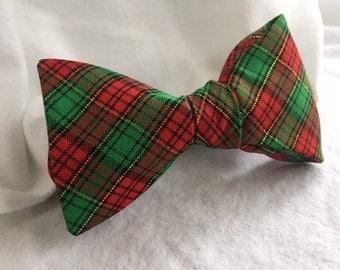 Men's Christmas Plaid Adjustable Bow Tie (Self Tie)