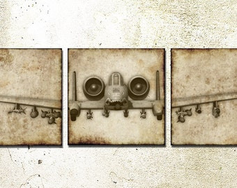 A-10 Warthog Triptych Wall art wrapped CANVAS. Airplane Art Prints, Nursery Aviation Decor
