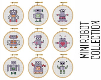 Mini Robot Collection - cross stitch pattern - Mini Robot - Pixel Art - Modern Cross Stitch