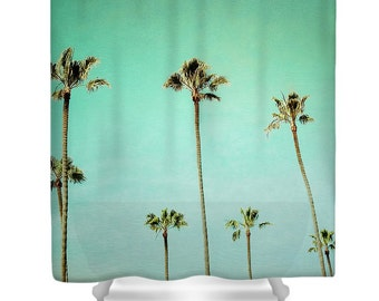 Extra Long Shower Curtain | Custom Shower Curtain | Palm Tree Print | Turquoise | Custom Bathroom Decor | Tropical Decor | Beach House Decor