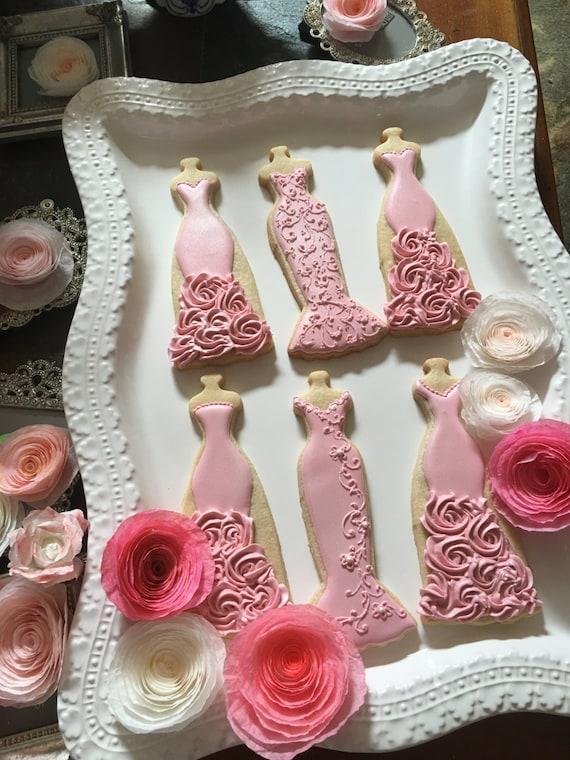 Rose Pink Wedding Entourage Dress Cookies-10  Bridal Shower Cookies, Bridesmaids Gifts, Spring Wedding,
