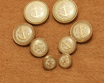 6 Pcs 0.43~0.79 Inches High-grade Retro White+Gold Anchor Metal Shank Buttons For Coats Cardigans