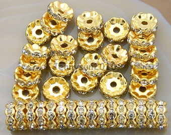 100Pcs Clear on Gold Czech Crystal Rhinestone Wavy Rondelle Spacer Beads 4mm 5mm 6mm 8mm 10mm
