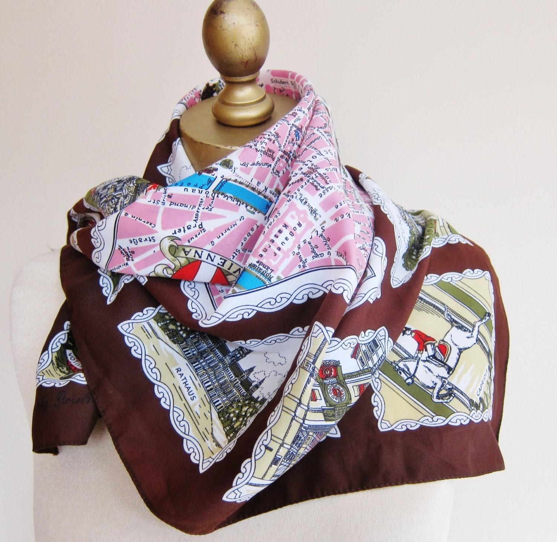 Vienna vintage scarf wein travel scarf austrian souvenir for Travel scarf