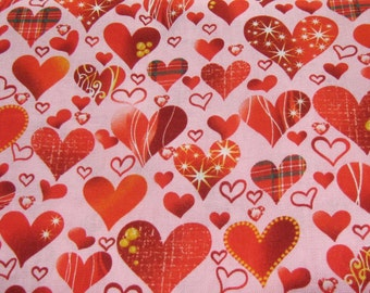 Red Hearth Cotton Fabric, Pink and Red Cotton fabric, Fabric By The Yard, Valentine Fabric, Red Fabric, Pink Fabric